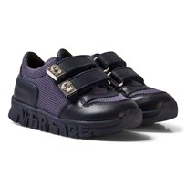 Young Versace Navy Mesh and Leather Trainers with Medusa Head
