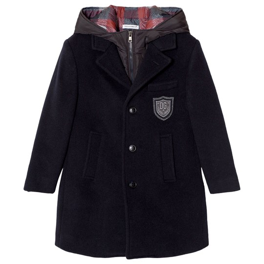 Dolce & Gabbana 3 in 1 Navy Wool Coat with Gilet Layer B0665
