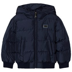 Dolce & Gabbana Navy Puffer Jacket with Branded Plaque