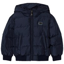 Dolce & Gabbana Navy Puffer Jacket with Branded Plaque B6712