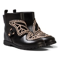 Sophia Webster Mini Black Butterfly Studded Ankle Boots Black