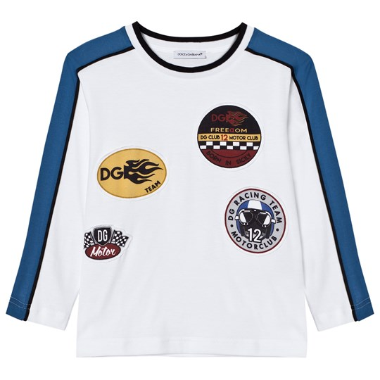 Dolce & Gabbana White Motor Sports Applique Long Sleeve Tee W0800