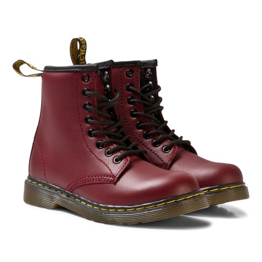 Dr. Martens Junior Delaney Leather Boots Cherry Red Red