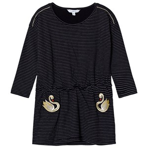 Image of Little Marc Jacobs Black and White Stripe Swan Embroidered Jersey Dress 2 years (2743794083)