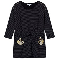 Little Marc Jacobs Black and White Stripe Swan Embroidered Jersey Dress 09B