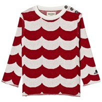 Bobo Choses Sailor knitted jumper Sea red waves Rød