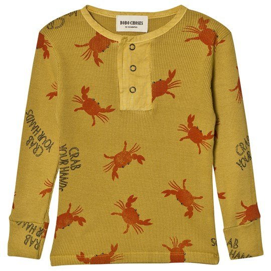 Bobo Choses Baby Buttons T-Shirt Crab Your Hands Yellow
