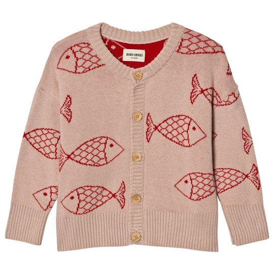 Bobo Choses Knitted Cardigan Shoaling Fish Pink