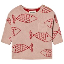 Bobo Choses Baby Knitted Jumper Shoaling Fish Pink