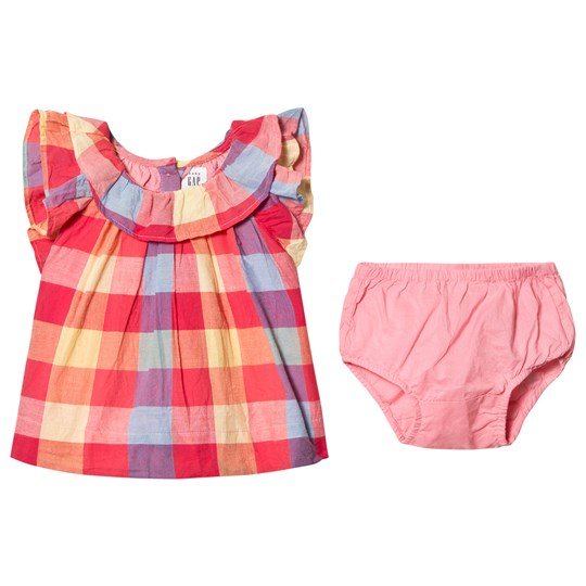 GAP Pink Plaid Ruffle Dress Pink Plaid