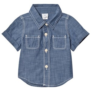 Image of GAP Short Sleeve Chambray Top 12-18 mdr (2839678515)