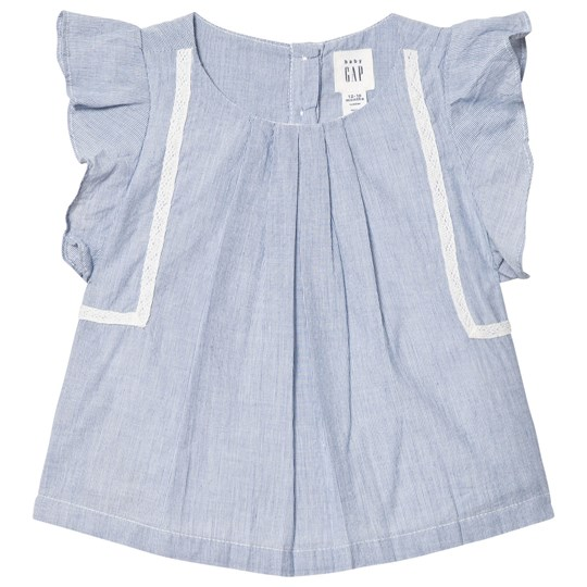 GAP Lace Trim Flutter Top Cool Blue Stripe Cool Blue Stripe