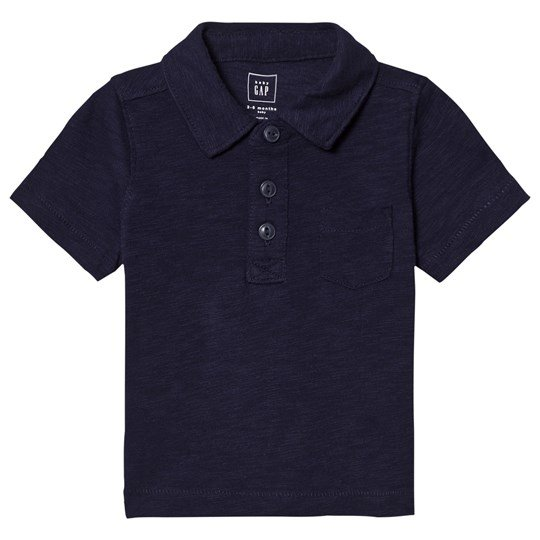 GAP Short Sleeve Slub Polo Navy Uniform NAVY UNIFORM