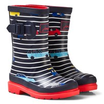 Joules Navy Stripe Cars Print Rubber Boots NAVY STRIPE CARS
