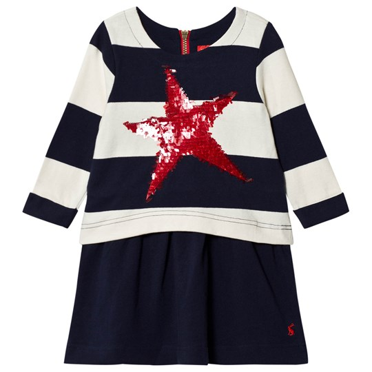 Tom Joule Randig Jersey Sequin Star Klänning Marinblå FRENCH NAVY STRIPE