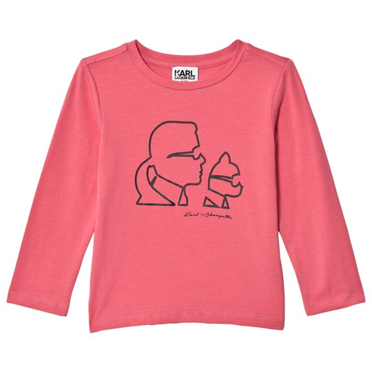 Karl Lagerfeld Kids Pink Karl and Choupette Printed Tee 488