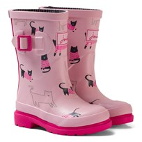 Joules Pink Cat Print Rubber Boots ROSE PINK CAT