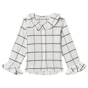 Image of Il Gufo White and Black Check Frill Cuff Blouse 2 years (3125343033)