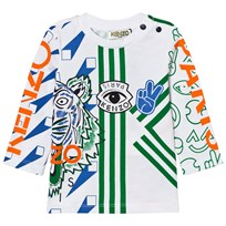 Kenzo White and Multi All Over Icons Print Tee 01