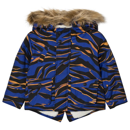 Kenzo Blue Tiger Print Parka with Fleece Lining 48