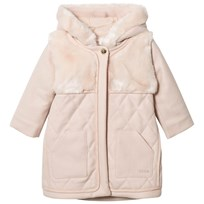 Chloé Pink Wool Quilted Faux Fur Hooded Coat 456