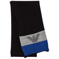 Armani Junior Blue Grey Logo Scarf 00020