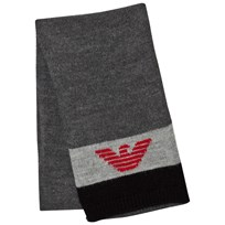 Armani Junior Black Grey Logo Scarf 00249