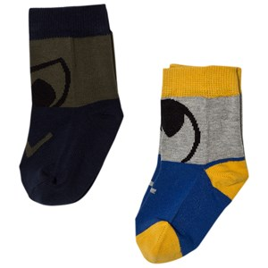 Image of Stella McCartney Kids 2-Pack Blue Black Trumpet Socks 23 (UK 6) (2743695129)