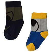 Stella McCartney Kids 2-Pack Blue Black Trumpet Socks 7065
