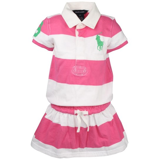 Ralph Lauren SS Rugby Dress Pink/White Pink