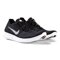 NIKE Flyknit 2 Free Run Junior Trainer Black BLACK/WHITE-ANTHRACITE-DARK GREY