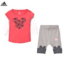 adidas Disney Micky Mouse Infants Tee and Leggings Set Top:CORE PINK S17/WHITE Bottom:MEDIUM GREY HEATHER