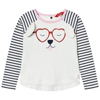 Joules Cream Dog Print and Applique Tee FRENCH NAVY STRIPE DOG