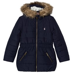 Joules Navy Padded Parka Faux Fur Hood