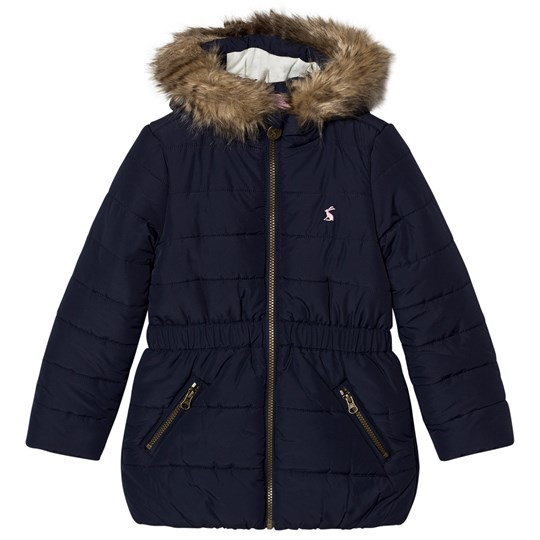 Tom Joule Navy Padded Parka Faux Fur Hood French Navy