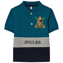 Joules Blue and Navy Colour Block Polo with Badge Bluebird