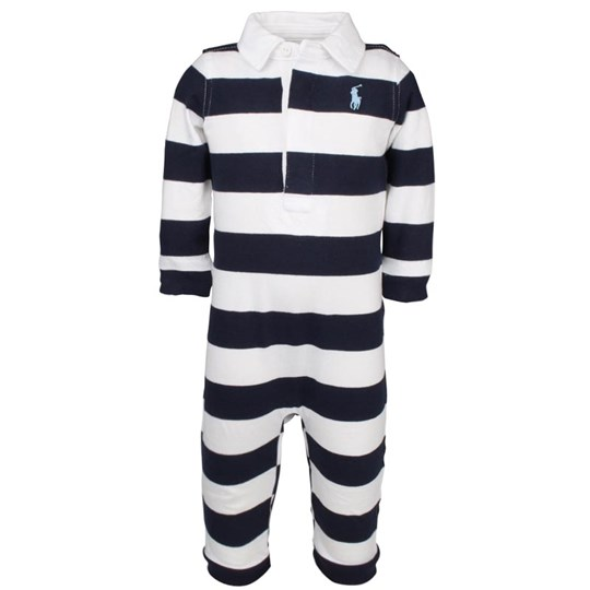Ralph Lauren Stripe Rugby Coverall French Navy Multi  Blue