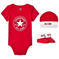 Converse Red Baby Body, Beanie and Booties Set Red