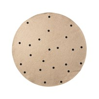 ferm LIVING Small Jute Carpet - Black Dots Black