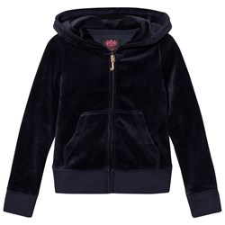 Juicy Couture Navy Jewelled Scotty Logo Velour Hoodie