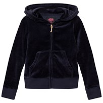 Juicy Couture Navy Jewelled Scotty Logo Velour Hoodie Regal