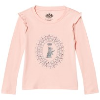 Juicy Couture Pink Jewelled Scotty Logo Frill Tee Powder Pink