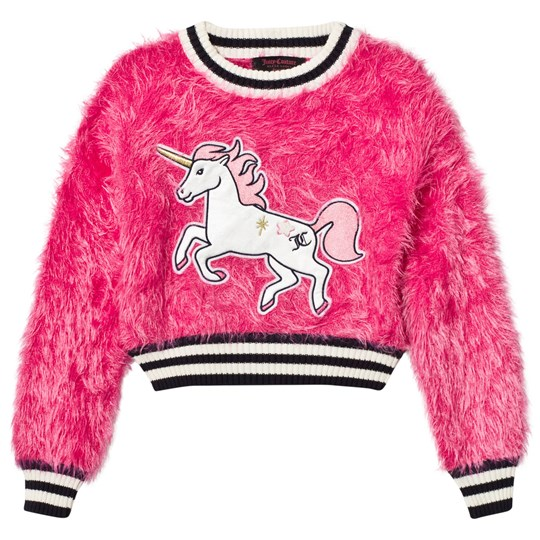 Juicy Couture Hot Pink Fluffy Unicorn Sweater GLAMOUR PINK