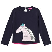 Joules Navy Sequin Horse Print Long Sleeve Tee FRENCH NAVY SEQUIN HORSE