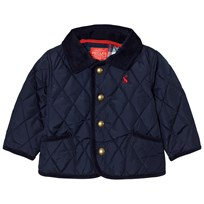 Joules Navy Quilted Barn Jacket with Check Lining French Navy
