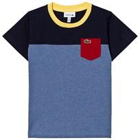 Lacoste Blue and Navy Colour Block Pocket Tee TL3