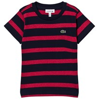 Lacoste Red and Navy Stripe Branded Tee TDA
