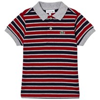 Lacoste Red, Grey and Navy Stripe Pique Polo TC4