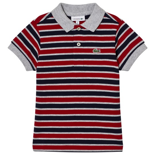 Lacoste Striped Pique Polo Navy/Red TC4