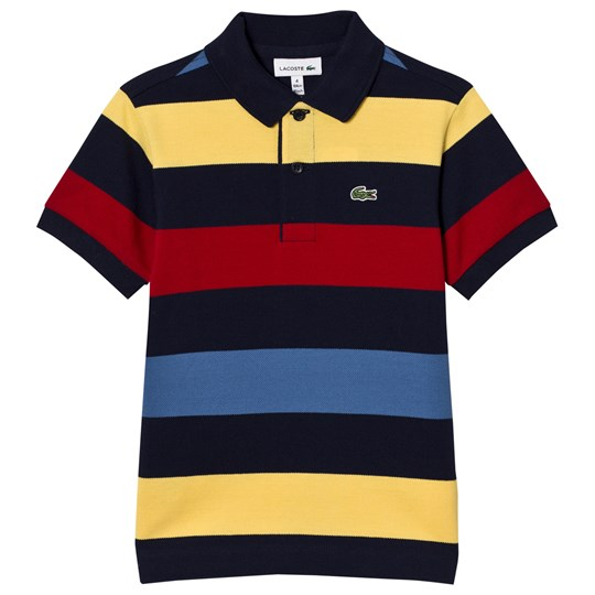 Lacoste Striped Colorblock Pique Polo Navy/Multi QR9